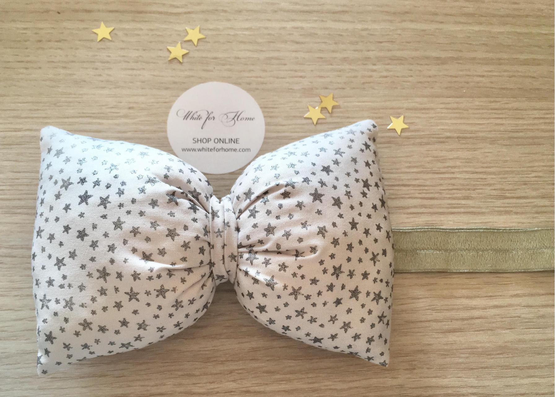 Κορδέλα μαλλιών / Φιόγκος ασημί αστέρια