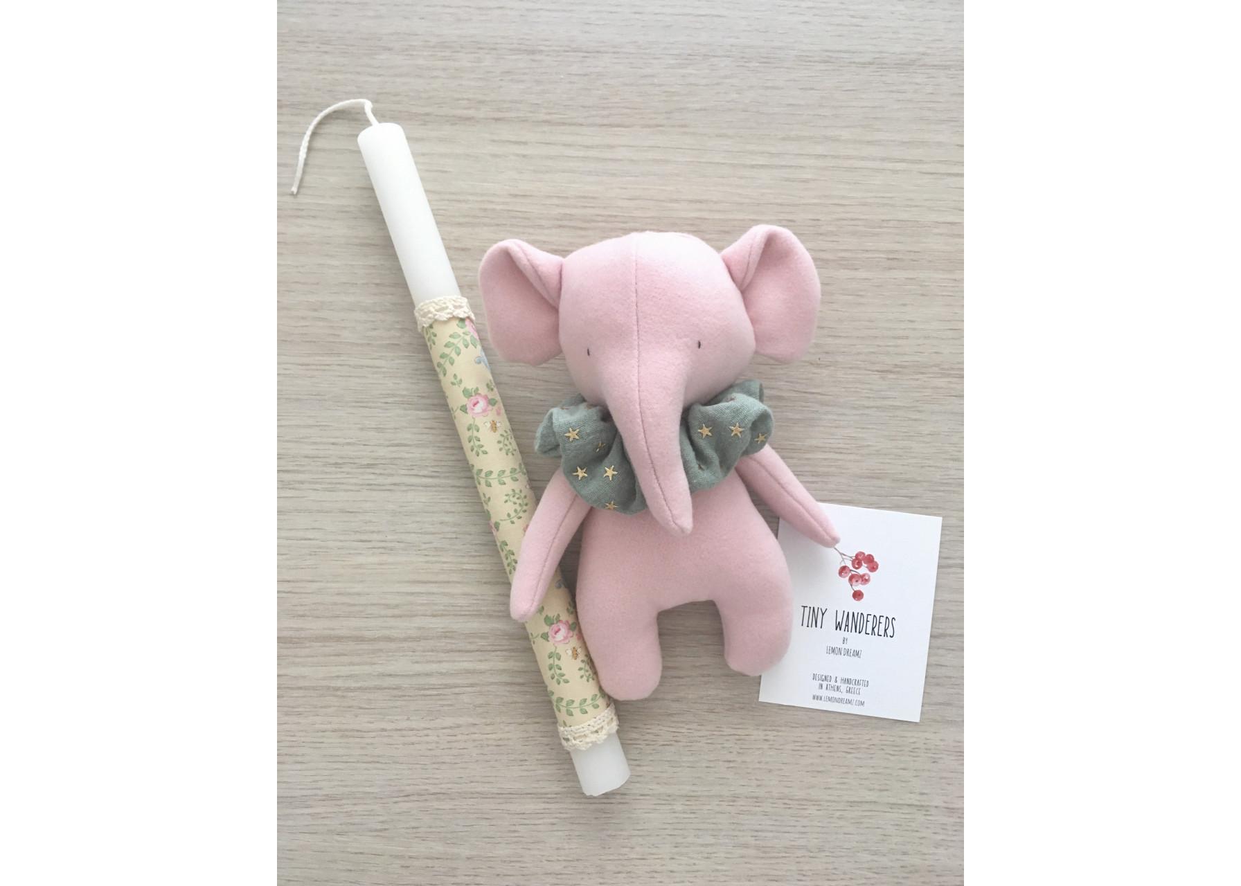 Πασχαλινή λαμπάδα / Ροζ φτερωτό ελεφαντάκι