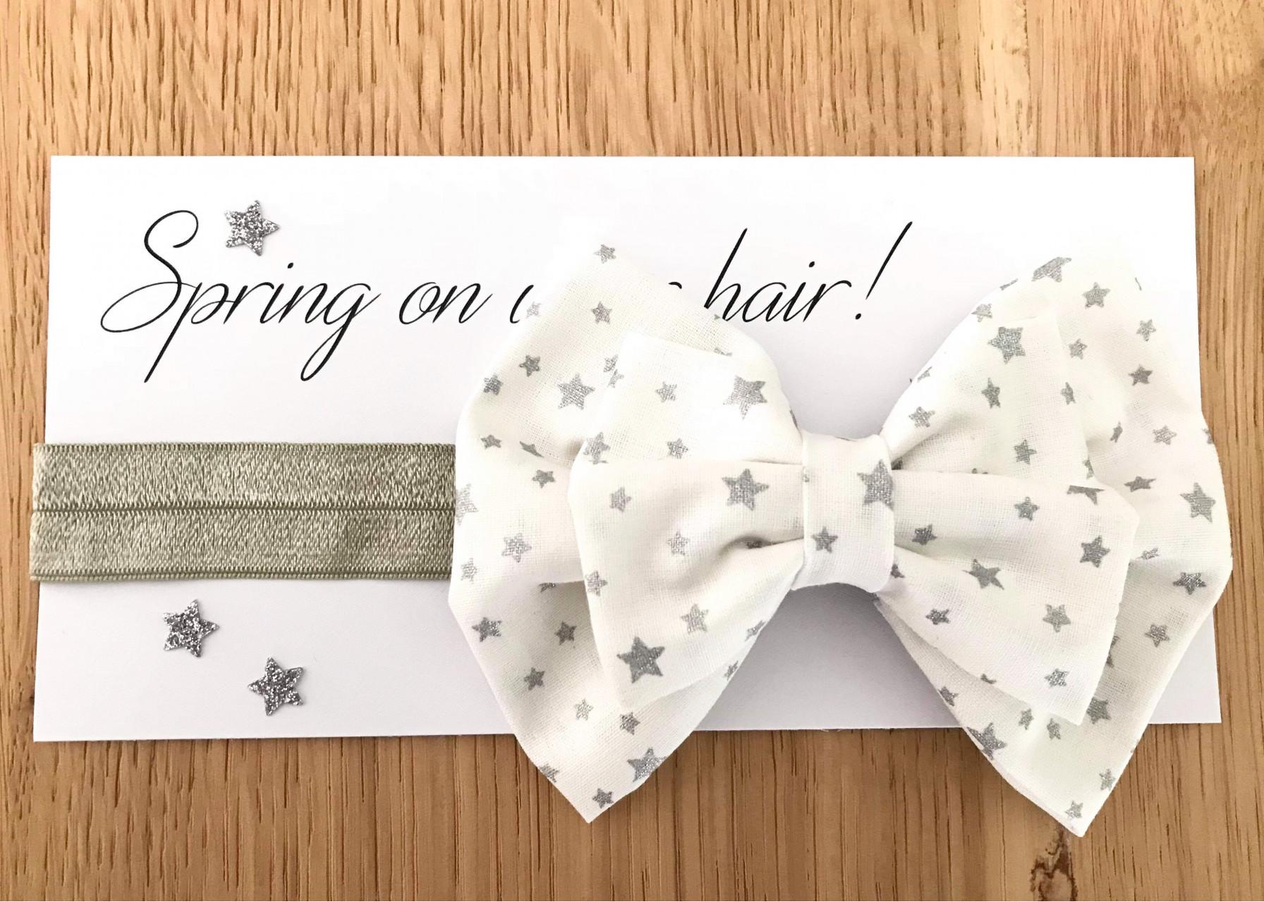 Κορδέλα μαλλιών / Ασημί αστέρια