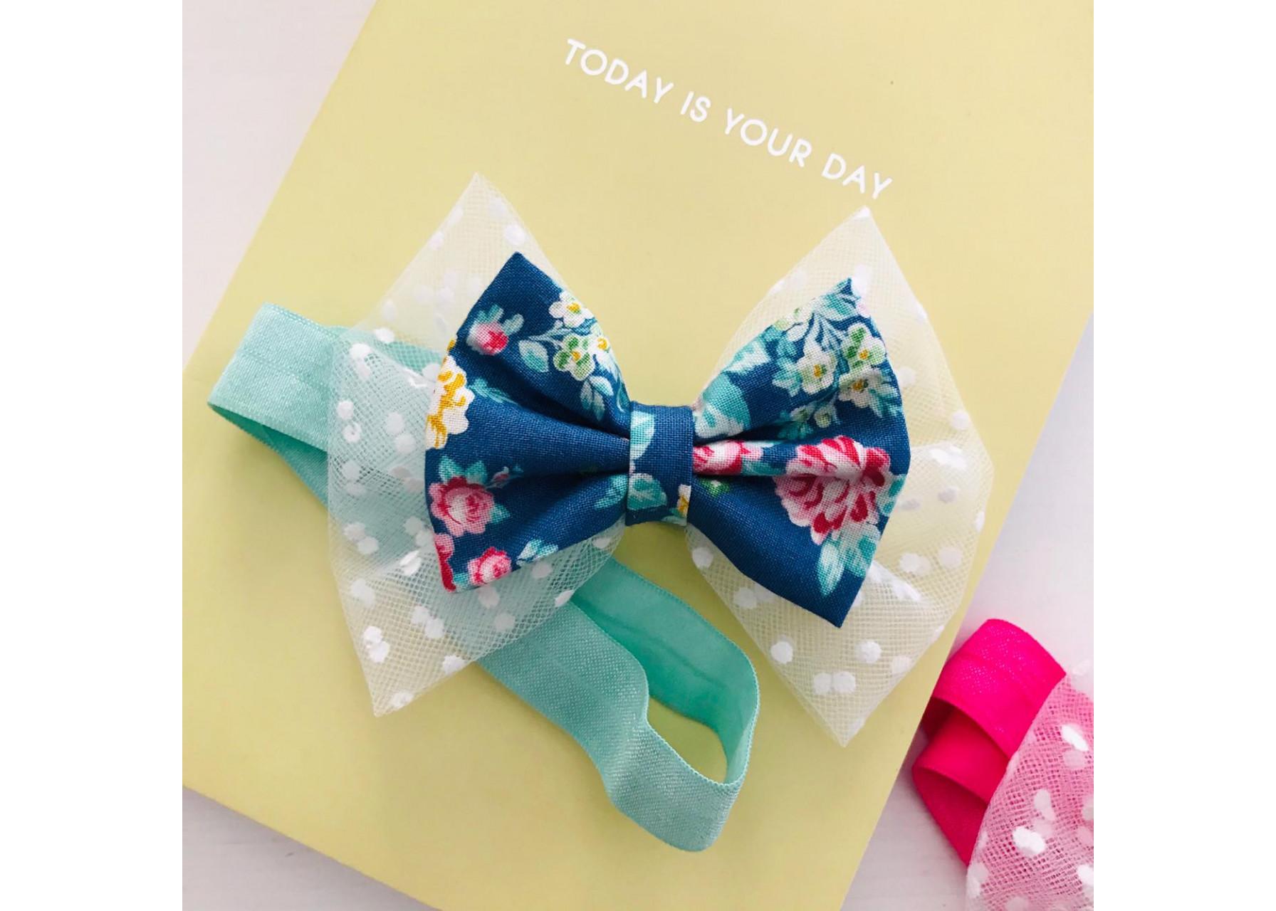 Κορδέλα μαλλιών / Μπλε λουλουδάκια