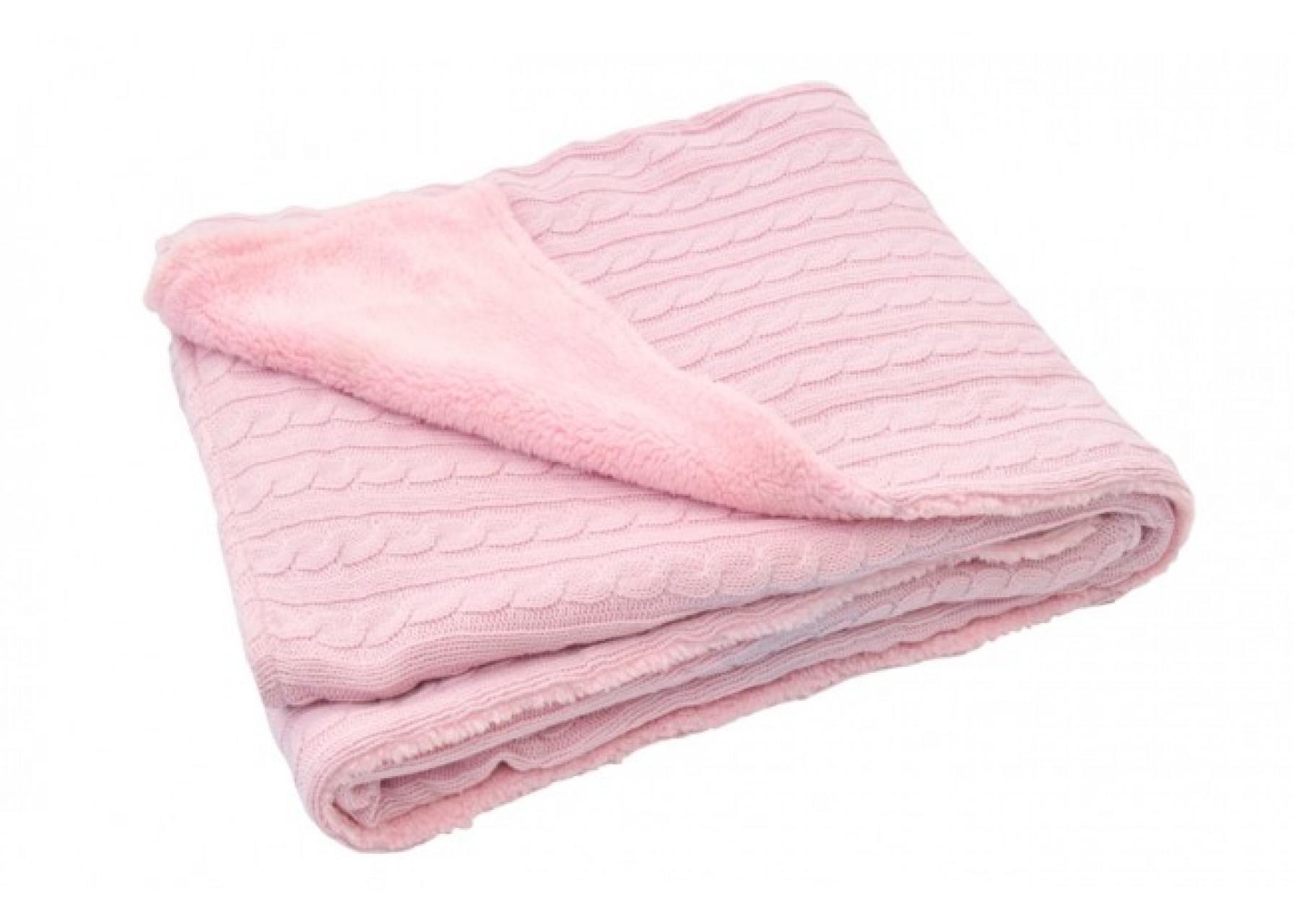 Πλεκτή κουβέρτα / Ροζ γουνάκι